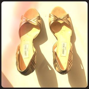 Jimmy Choo Tan/gold & Bronze Leather Heels Size 40